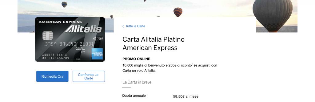 Anteprima del sito carta Alitalia Platino American Express | carta Alitalia Platino American Express