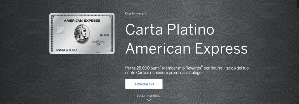 Anteprima del Sito della Carta Platino American Express