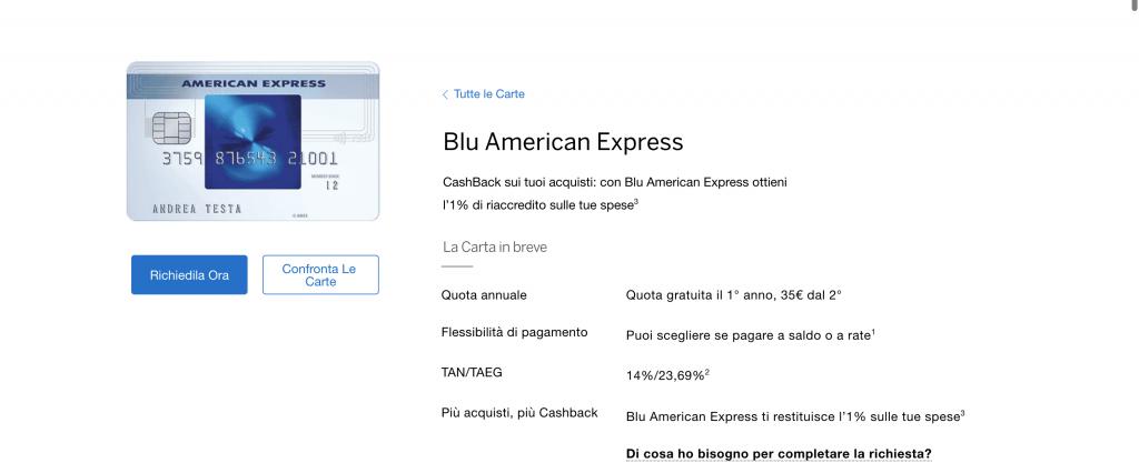 Anteprima del sito della Carta Blu Amex