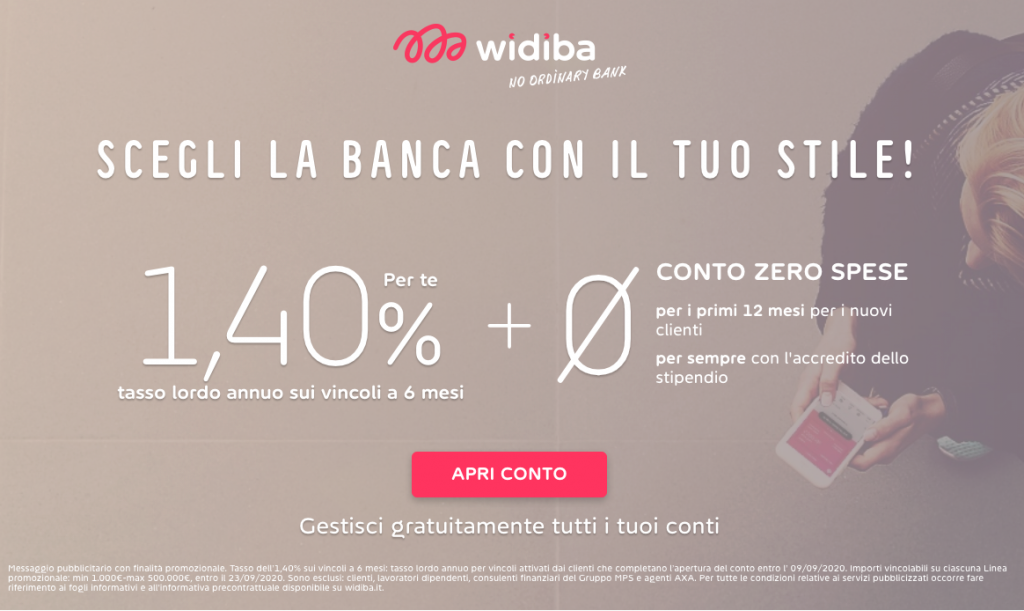 Anteprima del sito Widiba | Conto corrente gratuito