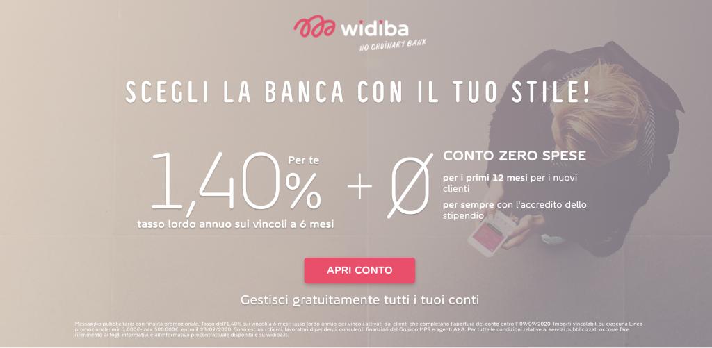 Anteprima del sito del conto corrente Widiba | Miglior Conto Corrente Online